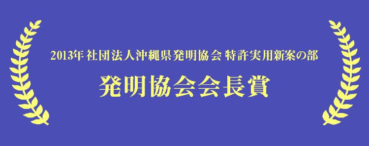2013年 社団法人沖縄県発明協会 特許実用新案の部 発明協会会長賞